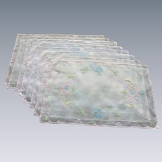 Set of 8 Sheer Pink Floral Placemats