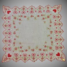 Red Hearts and Flowers Valentine Sweetheart Handkerchief Hankie