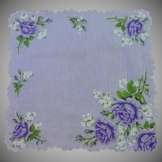 Lilac Purple with Deep Purple Flowers Handkerchief Hanky