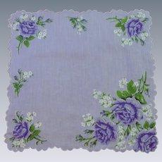Lilac Purple with Deep Purple Flowers Handkerchief Hanky