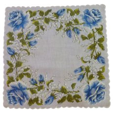 Blue Roses on White Background Linen Handkerchief Hanky