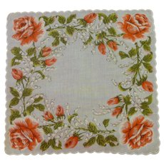 Orange Roses on White Background Linen Handkerchief Hanky