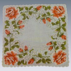 Orange Roses on White Background Linen Handkerchief Hanky