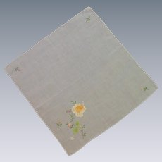 White Sweet Handkerchief with Yellow Appliqued Flowers