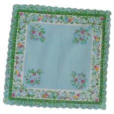Aqua Green Border with Blue and Fuchsia Flower Handkerchief