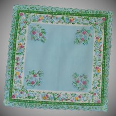 Aqua Green Border with Blue and Fuchsia Flower Handkerchief