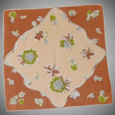 Brown, Blue, Green and White Mixed Floral Wedding Handkerchief