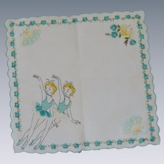 Children's Aqua and White Ballerina Handkerchief