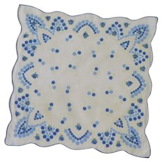 Blue, White and Off White Polka Dot Handkerchief