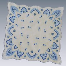 Blue, White and Off White Polka Dot Handkerchief
