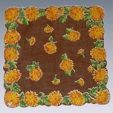 Gold Orange Zinnias on Brown Handkerchief