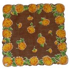 Gold Orange Zinnias on Brown Handkerchief