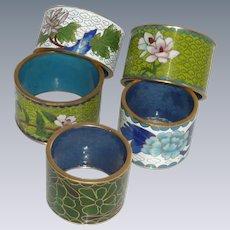 3 Cloisonné / Champleve Asian Napkin Rings
