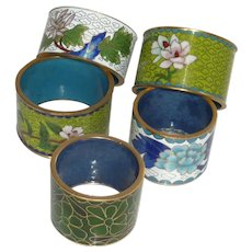 5 Cloisonné / Champleve Asian Napkin Rings