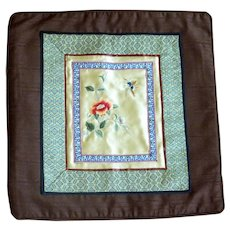 Beautiful Chinese Silk Embroidered Fabric Panel Throw Pillow