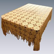 White Twin Bed Crocheted Bedspread or Table Cloth