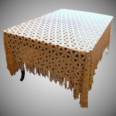 White Half Bed Crocheted Bedspread or Table Cloth