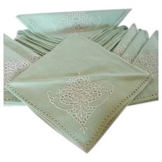 Set of 12 Linen Cutwork Mint Green Cloth Napkins 1940's