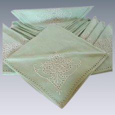 Set of 12 Linen Cutwork Mint Green Cloth Napkins 1940's