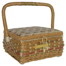 Small Wicker Sewing Basket with Lid