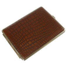 Mid Century Leather Covered Cigarette Case