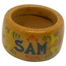 SAM Hand Painted Wood Napkin Ring