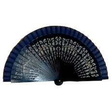Navy Blue Hand Fan with Hand Painted Flowers