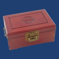 Mahogany Wood Asian Jewelry  Box with Lock