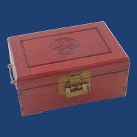 Mahogany Wood Asian Jewelry  Box with Lock