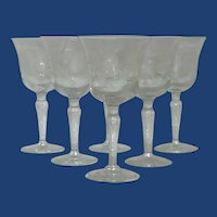 Set of Six Sunflower Etched Stemmed Wine / Water Glasses