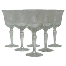 Sunflower Etched Glass Stemmed Goblet