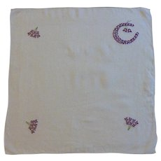 White Handkerchief with Purple Embroidered Violets