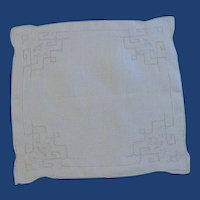 White Linen Drawn Work Handkerchief