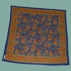 Axcess Floral Cotton/Wool Dark Blue Orange Scarf
