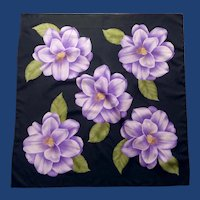 Bold Purple Flower on Black Square Scarf Kerchief