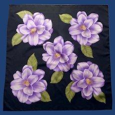 Bold Purple Flower on Black Square Scarf Kerchief