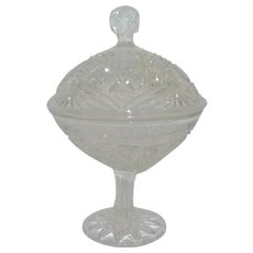 Pressed Glass Candy Dish with Cover 1910's