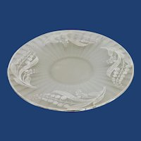 Large Frosted Sterling Silver Overlay Glass Plate