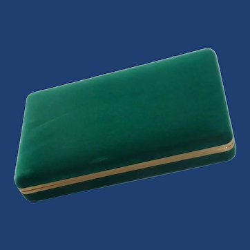 Green Suede Velvet Cuff Link /Earring Presentation Jewelry Box