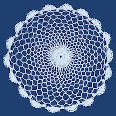 Crochet Large Ecru White Doily