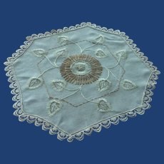 Large 8 Sided Center Beige Linen Doily