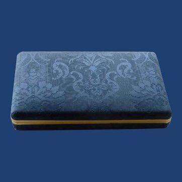 Blue Brocade Cloth Cuff Link /Earring Presentation Jewelry Box