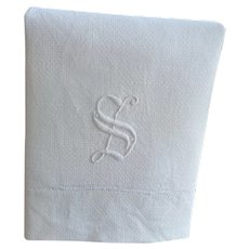 White Damask Hand Towel with Embroidered Initial S