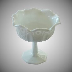 McKee Quintec White Milk Glass Compote