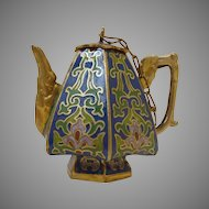 Miniature Cobalt Blue Cloisonné Teapot / Coffeepot with Top