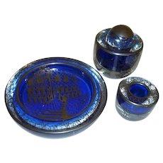 Cobalt Blue Murano Venetian Glass Desk Set
