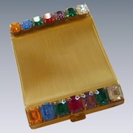 Rhinestone Gold Tone Vintage Powder Compact