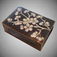 Cloisonne Cherry Blossoms Match Safe Brass Box