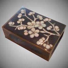 Cloisonne Cherry Blossoms Match Safe Brass Box