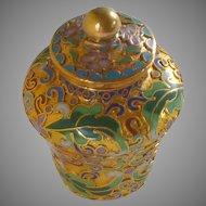 Gold Tone Cloisonné Miniature Chinese Ginger Jar